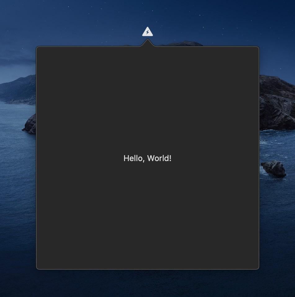 App running in menu bar